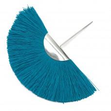 Веерная кисть. Шапочка - родий. Цвет: темно-голубой. Артикул: 7695