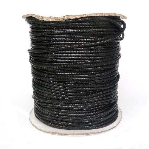 Шнур вощеный синтетический 2 мм. Цвет: черный. Артикул: В-3
