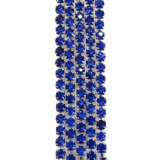 Стразовая цепь SS6. Серебро. Цвет: синий. Артикул: SS6-10.