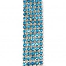 Стразовая цепь SS6. Серебро. Цвет: голубой. Артикул: SS6-11.