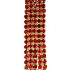 Стразовая цепь SS6. Золото. Цвет: красный. Артикул: SS6-20.