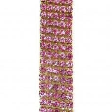 Стразовая цепь SS6. Золото. Цвет: светло-розовый. Артикул: SS6-23.