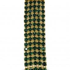 Стразовая цепь SS6. Золото. Цвет: зеленый. Артикул: SS6-24.