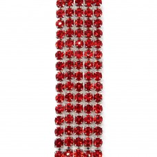 Стразовая цепь SS6. Серебро. Цвет: красный. Артикул: SS6-26.