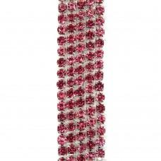 Стразовая цепь SS6. Серебро. Цвет: перламутрово-розовый. Артикул: SS6-29.