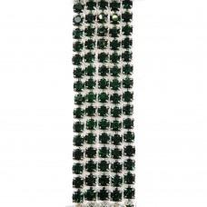 Стразовая цепь SS6. Серебро. Цвет: зеленый. Артикул: SS6-31.