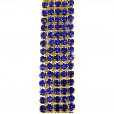 Стразовая цепь SS6. Золото. Цвет: синий. Артикул: SS6-4.