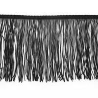 Бахрома полиэстер 15 см. Цвет: черный. Артикул: P15-1-10
